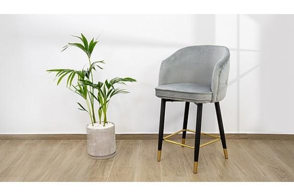 Роскошный бархатный барный стул модели Elizabeth в кремовом цвете