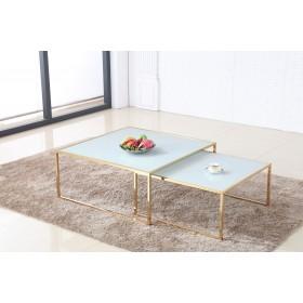 Журнальный столик MAYA - комплект из 2 столов в бело-золотом сочетании 100 + 80 - купить в Израиле