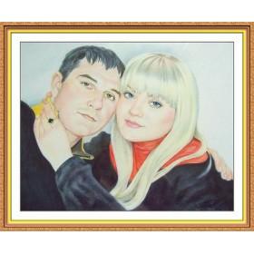 Портрет по фото на заказ A3 цветной 2 человека